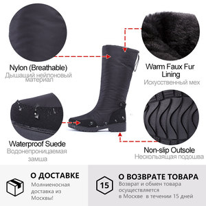 Image 5 - GOGC Winter Boots Women 2019 autumn winter woman High Boots Waterproof Brand Women Shoes Warmful Winter Shoes Women Flat 9893