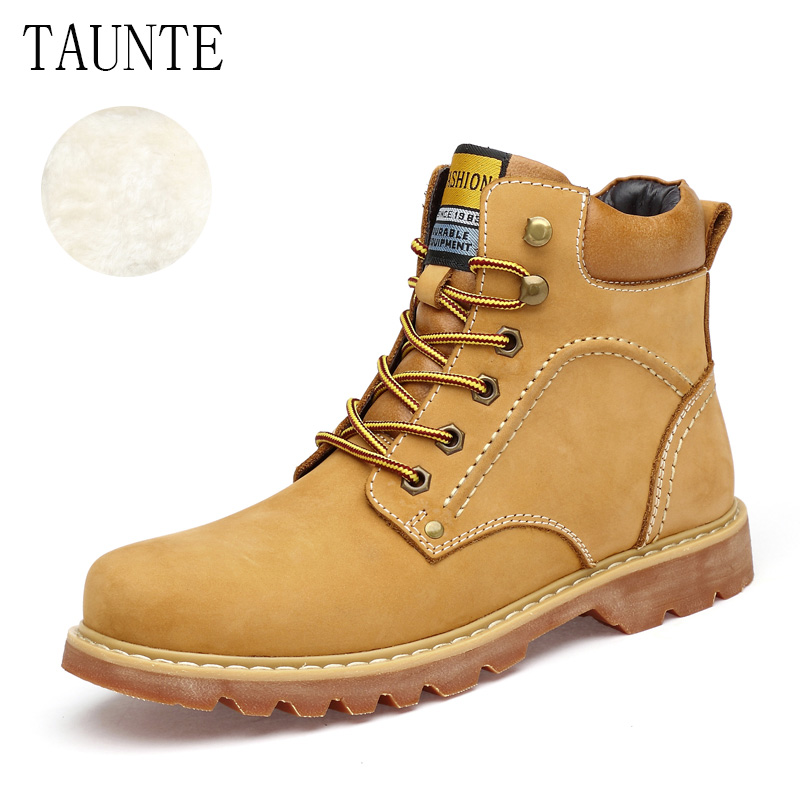 Tauntte Winter Men Work Boots Genuine Leather Fashion Ankle Boots Keep Warm Martin Boots Plus Size With Fur free shipping autumn winter genuine leather men s work ankle boots martin boots british style western cowboy boots for men botas