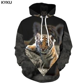 KYKU Brand Tiger Hoodie Men Animal Hooded Casual Gray Print Geometric Hoodes 3d Abstract Hoody Anime Long Sleeve Fashion