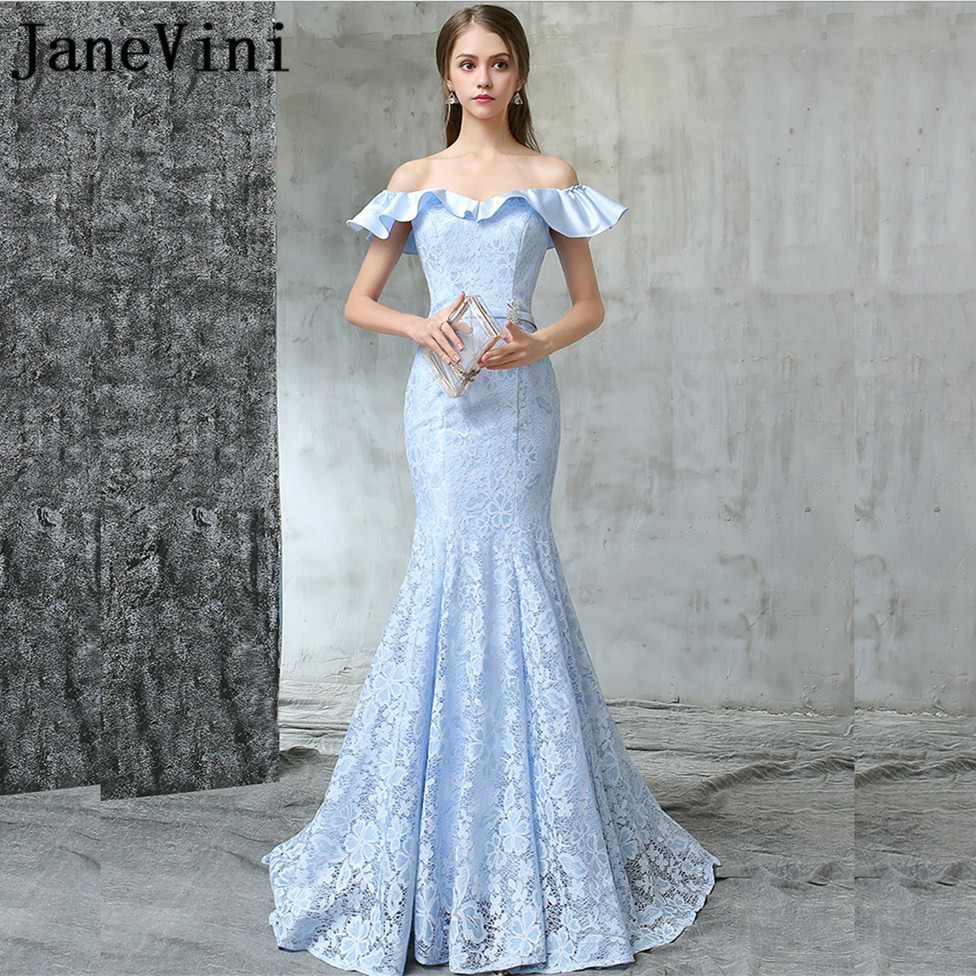 JaneVini Light Sky Blue Elegant Lace Mermaid Long   Bridesmaid     Dresses   Girls Pageant   Dress   Backless Lace-up Back Formal Prom Gowns