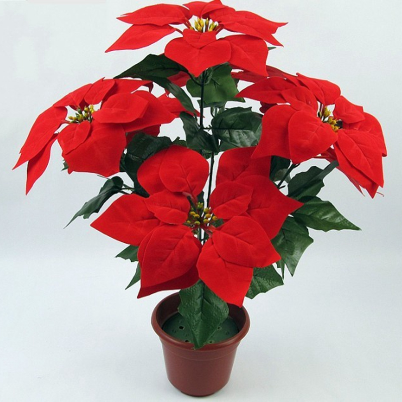 Artificial Christmas Flowers.Us 4 28 35 Off Emulate Bonsai 1 Bouquet Poinsettia Posy Decorative Artificial Christmas Flowers Fake Pot Plants Home Decor Without Flowerpot In