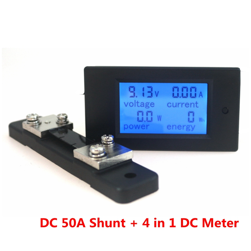 DC 6.5-100V 50A 4 IN1 Digital Voltmeter Ammeter LCD DC Voltage Current Power Energy Meter Tester with DC 50A/75mV Shunt