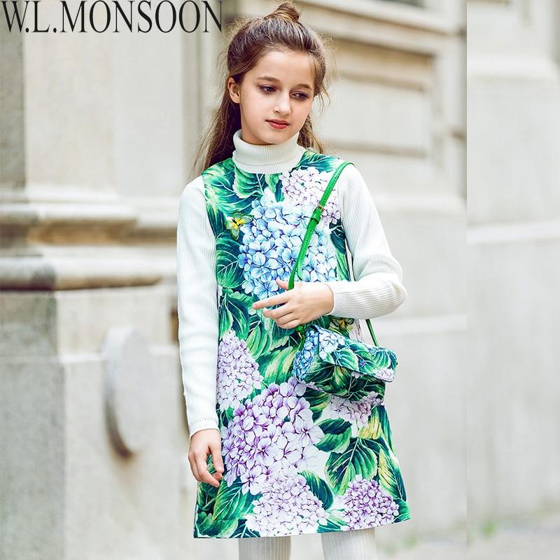 W.L.MONSOON Kids Dresses for Girls Costume Princess Dress Christmas Flower Pattern Toddler Girls Winter Dress Children Clothes
