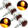 4PCS Metal Motorcycle Turn Signal Indicator Light Lamp Bulb For Harley /Cafe /Racer