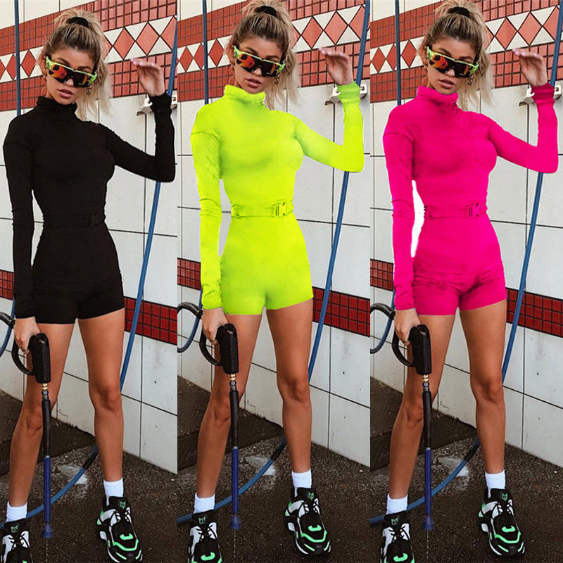 Long Sleeve High Neck Skinny Romper 2018 Autumn Winter Women Zip Up Slim Rompers Solid Sexy   Jumpsuits   High Street Playsuits