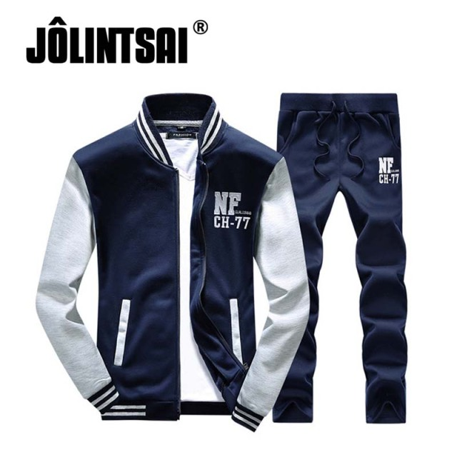 Jolintsai 2017 Spring Casual Men Clothing Set Patchwork Tracksuit Hoodies Pant Two Set Hip Hop Sweatshirt Plus Size 4XL