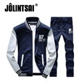 Jolintsai 2017 Spring Casual Suit Men Patchwork Tracksuit Hoodies Pant Two Set Hip Hop Sweatshirt Plus Size Sweatsuits 4XL