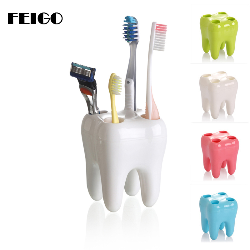 FEIGO 4 Hole Teeth Style Toothbrush Holder Toothbrush Stand Tooth Brush Shelf Bracket Container Bathroom Accessories Set F849 image