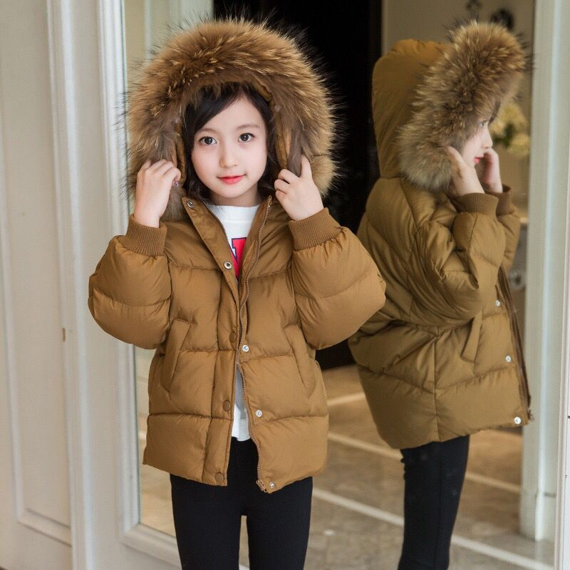 Kids winter fashion outwear hooded warm coats girls clothes cotton padded jacket girls down children winter coat solid color цена 2017