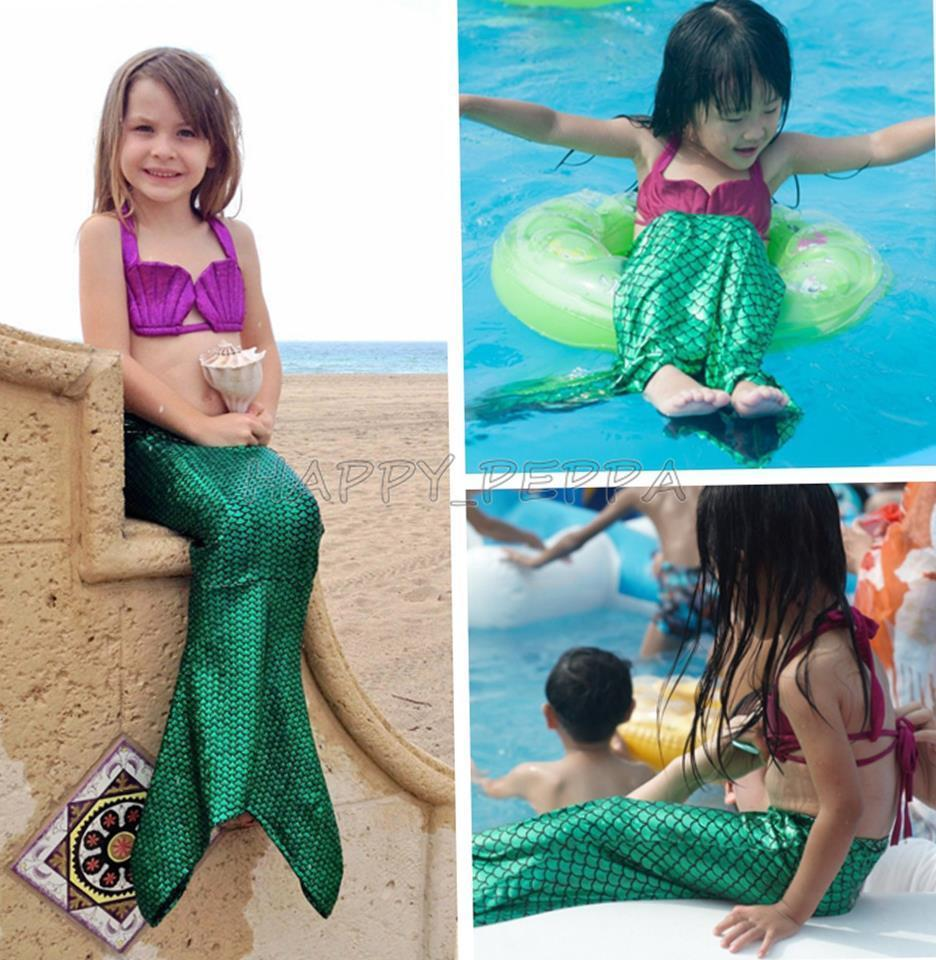 2016 Ariel The Little Mermaid Tail Princess Ariel Dress Cosplay Costume Kids For Girl Fancy Green Dress Swimsuit Swimming Suit Strengthening Sinews And Bones Mother & Kids