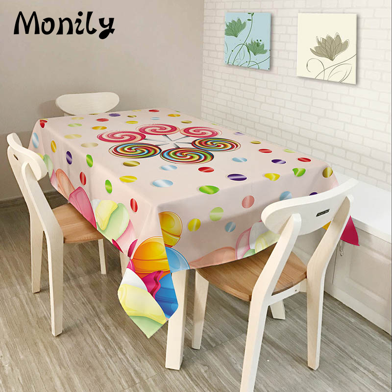 US $21 99 |Monily Polyester Waterproof Rectangle Tablecloths Cartoon Poker  Sweet Lollipop Oilproof Table Cloth Home Banquet Table Cover-in Tablecloths