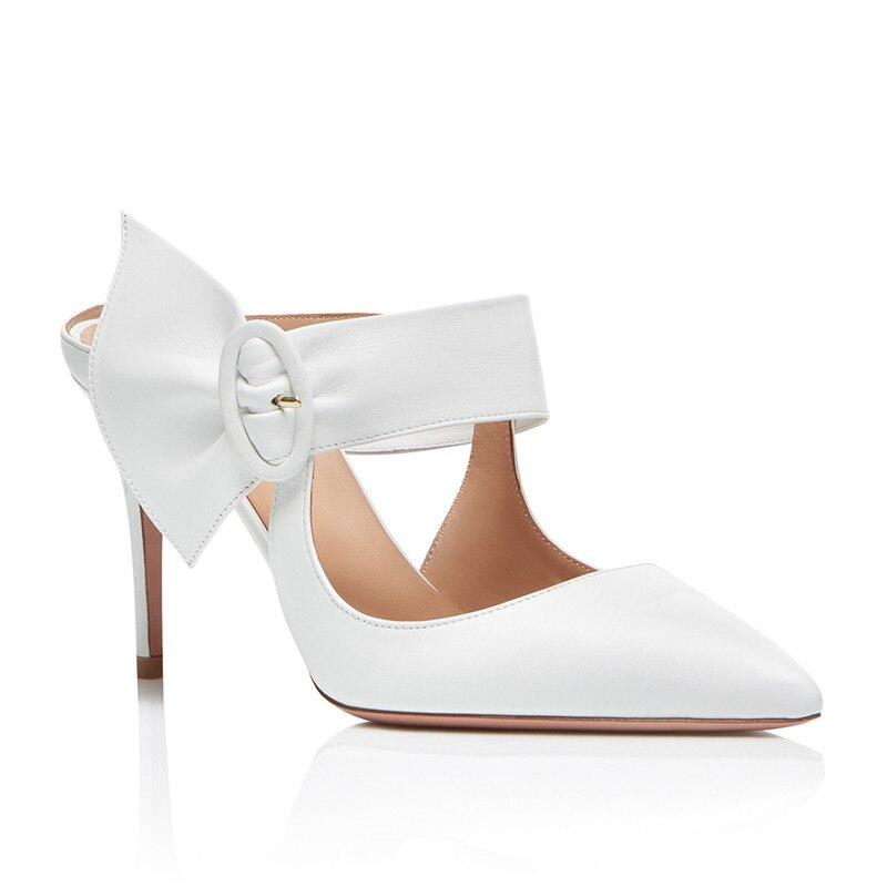 Pie As Partido Dedo Eu44 Diseñador Punta Boda Zapatillas Señora Tacones Mujer Del 2018 Moda Show Altos Blanco De Zapatos Sandalias Mulas Hebilla Mujeres Bombas nqwBx7a