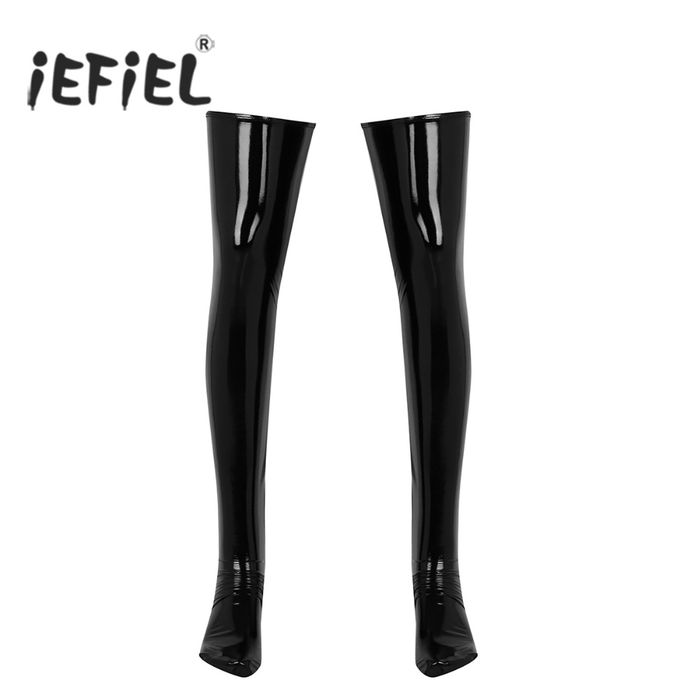 1 Pair Mens Anti-skid Soft Elasticity Wetlook Patent Leather Thigh High Footed Stockings Clubwear Costume Cosplay Accessories