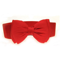 Winfox Vintage negro rojo blanco de ancho cinturón elástico correa del arco cinturones  de cintura para d645d7409f73