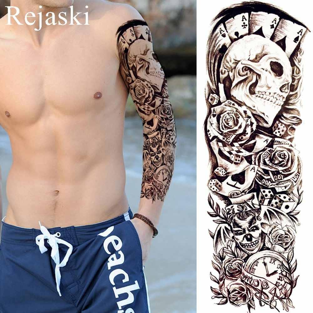 черный призрак цветок лист временные татуировки наклейки для женщин