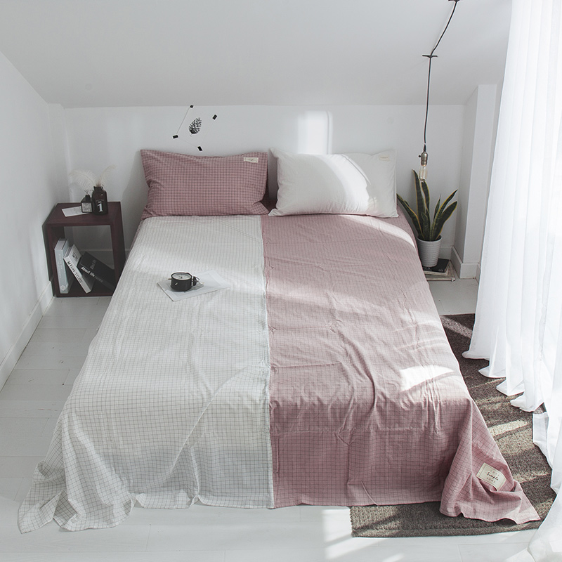 Pink White Stitching Pattern Bedding Sheet Home Textile Printing Solid Color Flat Sheets Combed Cotton Bed Sheet Bedding LinenPink White Stitching Pattern Bedding Sheet Home Textile Printing Solid Color Flat Sheets Combed Cotton Bed Sheet Bedding Linen