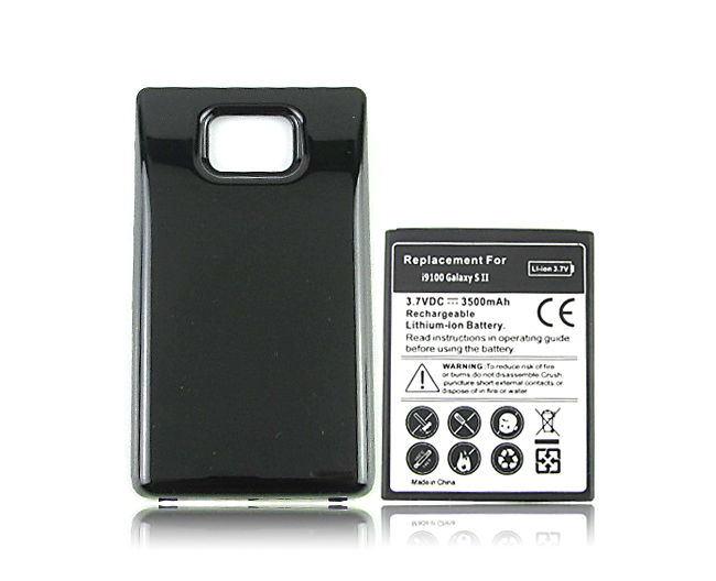 Extended Thicker Phone Replacement Battery For Samsung Galaxy S2 SII <font><b>i9100</b></font> GT-<font><b>i9100</b></font> 3500mah Battery with Black Back Cover Case image