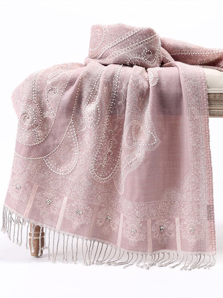 Handmade Nail Beads Women Shawls Scarves India Wool Cape Female High Quality National Style Tassels Wrap Pashmina 70x180cm