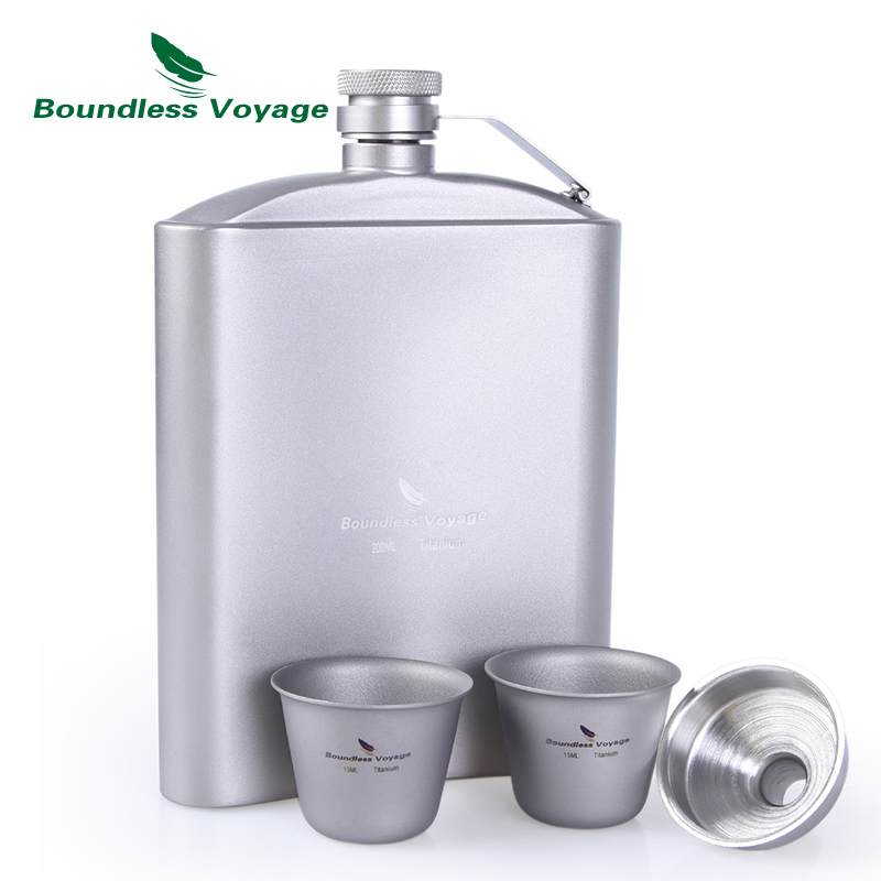 Boundless Voyage Outdoor Tableware Titanium Hip Flask Cup Set with Funnel Camping Picnic Pocket Whiskey Wine
