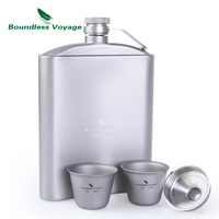 Boundless Voyage Outdoor Tableware Titanium Hip Flask Cup Set with Funnel Camping Picnic Pocket Whiskey Wine Mug 7oz/200ml
