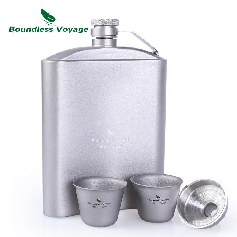 Voyage illimité vaisselle extérieure titane hanche flacon tasse ensemble avec entonnoir Camping pique-nique poche whisky vin tasse 7 oz/200 ml