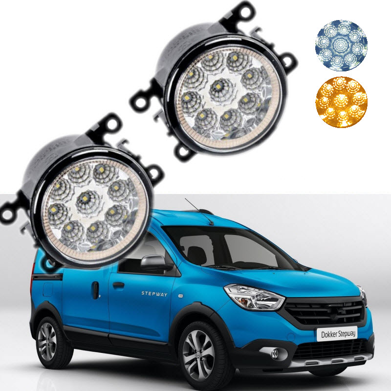 Car Styling For Dacia Renault Dokker 2013- 9-Pieces Leds Chips LED Fog Light Lamp H11 H8 12V 55W Halogen Fog Lights 2pcs car styling right left fog light lamp w h11 halogen 12v 55w bulb assembly for nissan tiida hatchback c11x 2007 2011 2012