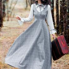Высокое качество Лучшие продажи в стиле ретро Весна новое поступление со стоячим воротником рубашка в клетку Женская длинное Хлопковое платье серого цвета