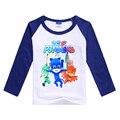Crianças Topos de Esportes para Meninos Pj Máscara de Algodão T-shirt Camisetas de Marca de Manga Comprida Camisola de Inverno Adolescente Meninas Trajes de Outono