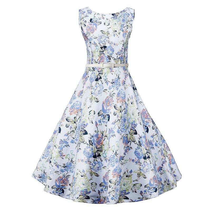Kostlish Elegant Print Women Summer Dress Sleeveless Audrey Hepburn 50s 60s Vintage Dress With Belt Casual A-Line Ladies Dresses (10)