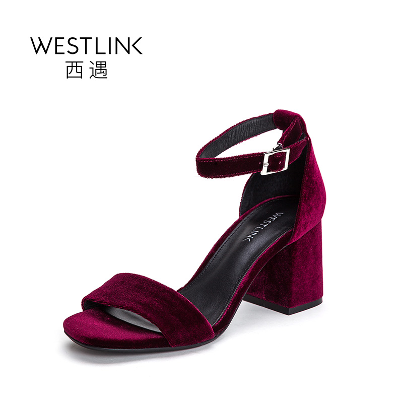 ФОТО Westlink Velvet Back Strap Buckle Square Hoof High Heels European Women Sandals Wind Red Blue 2017 Summer New