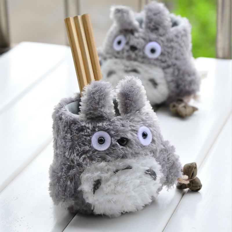 Super Kawaii Anime Totoro Plush Pen Holder Multifunctional Penholder Functional Office Student Home Decoration