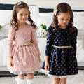 2016 Top Autumn Winter Kids Toddler Girls Princess Dress Long Sleeve Polka Dots Buttons Dress With Belt Girls clothing