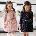 2016 Top Outono Inverno Dos Miúdos Meninas Da Criança Vestido de Princesa de Manga Longa Botões de Bolinhas roupas Meninas Vestido Com Cinto