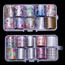הולוגרפית נייל אמנות מדבקות טיפים כורכת לסכל העברת דבק נצנצים אקריליק DIY קישוט (10PCS 10 צבעים)(2.5cm * 100cm)