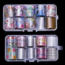 Arte holográfico para uñas pegatinas puntas hoja de envolver transferencia adhesivo brillos de acrílico DIY decoración (10 Uds. 10 colores) (2,5 cm * 100cm)
