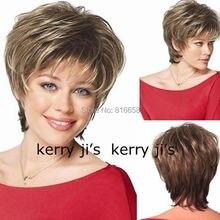 Натуральный коричневый блонд стриженые короткие волосы парики короткие женские модные парики