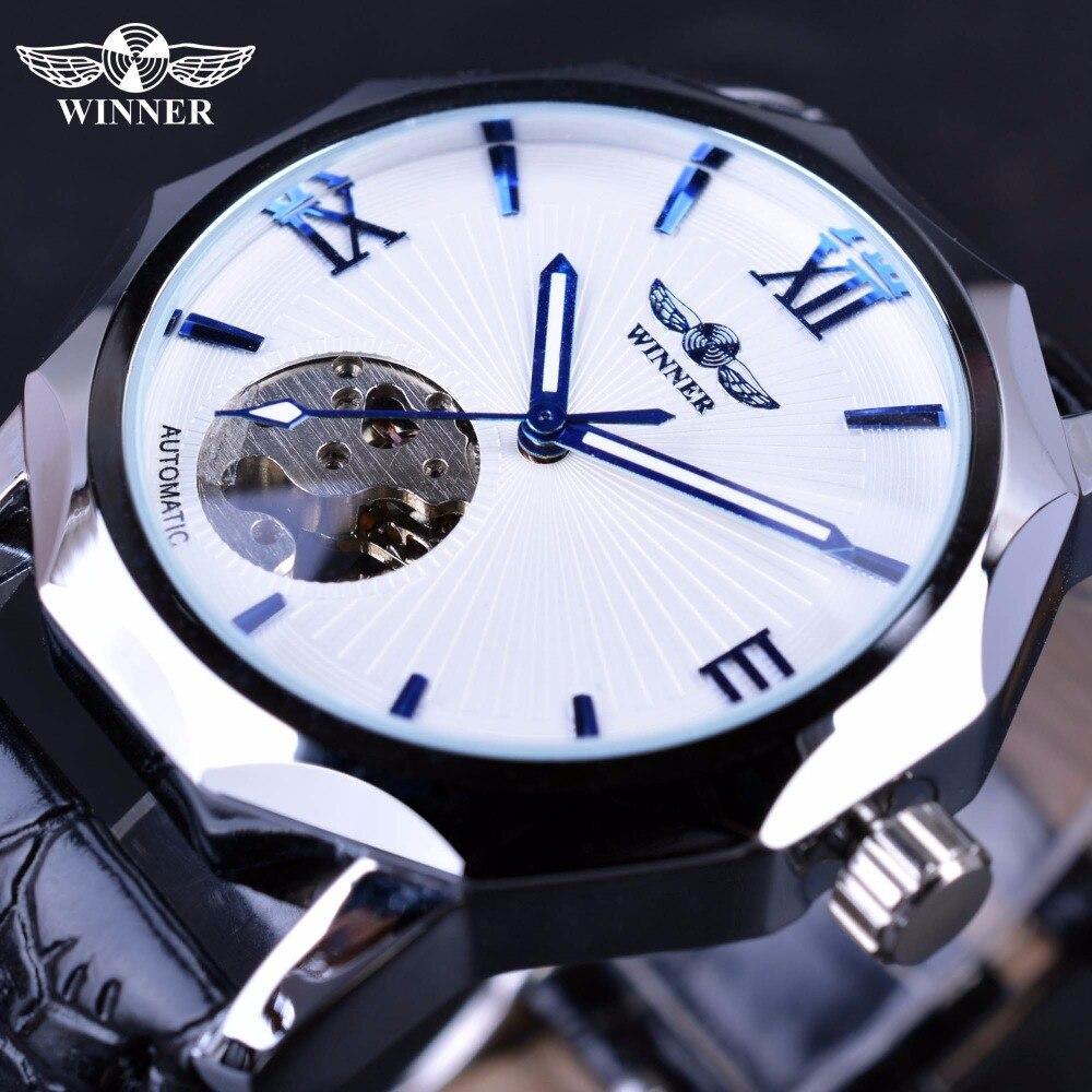 929f8682628 Vencedor Mãos Azuis Projeto Transparente Esqueleto Dial Display Pequeno Moda  Mens Relógios Top Marca de Luxo Moda Relógios Automáticos em Relógios  mecânicos ...