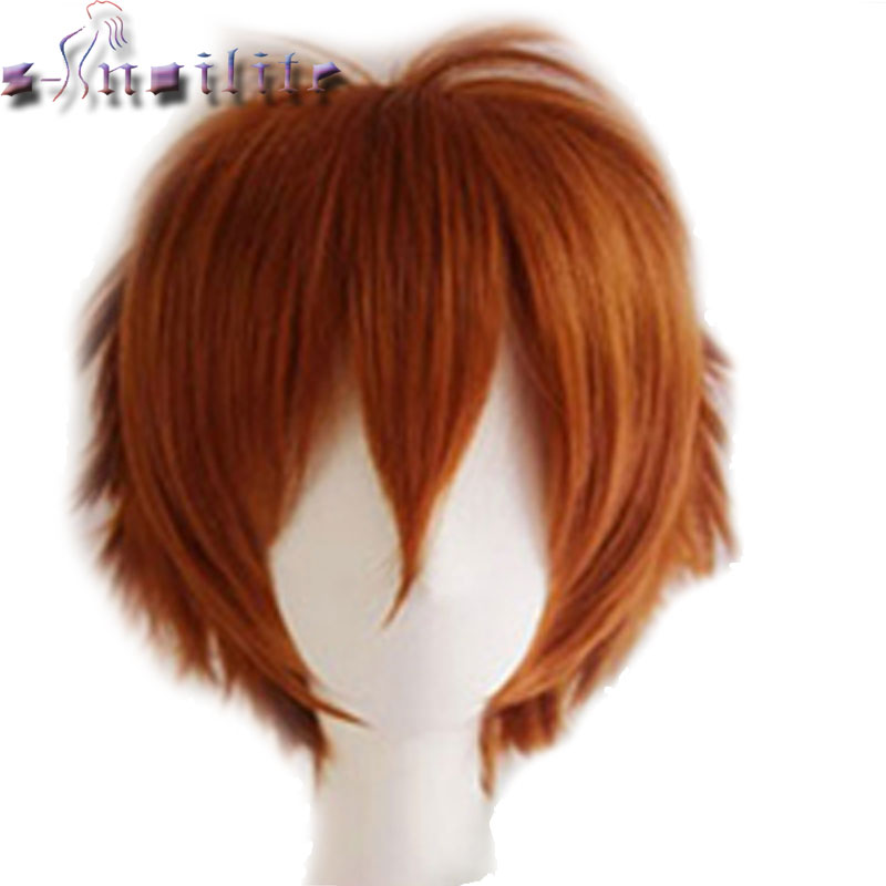 S-noilite Short Wig Blue Brown Black Women Men Cosplay Costume Party Head Wigs Synthetic Hair
