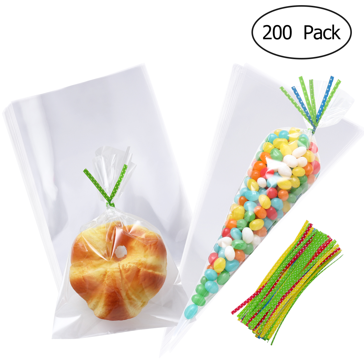 200pcs Clear Cellophane Bags Opp Plastic Bag Cookie Bakery Candy Biscuit Lollipop Treat Gift Bags With 200pcs Ribbons For Party Kitchen,dining & Bar
