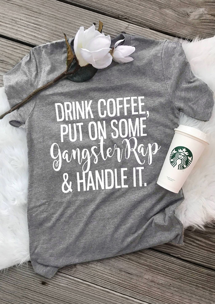 Women's Clothing Tops & Tees Faithful Skuggnas Drink Coffee Put On Some Gangster Rap T-shirt Funny 90s Women Fashion Tees Grunge Aesthetic Tumblr Goth T Shirt