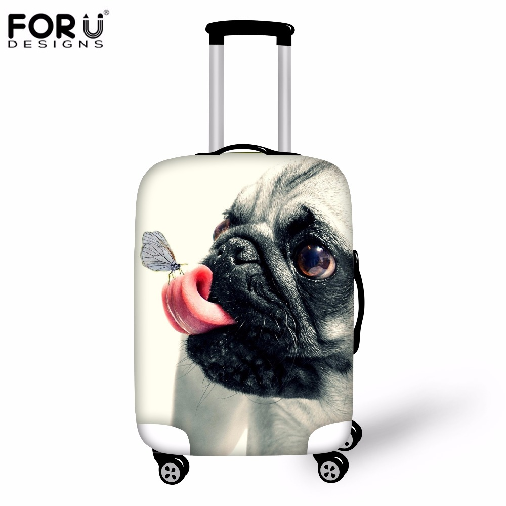 FORUDESIGNS Luggage Suitcase Protective Cover 3D Pug Bulldog Print Elastic Trolley Case Covers For 18-30 Inch Travel Accessories
