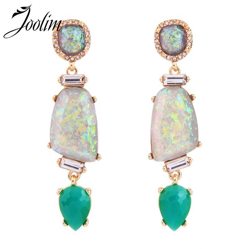 Joolim Jewelry Wholesale Tropical Geometric Stone Statement Earring Dangle Earring Summer Jewelry