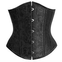 Wholesale Elegant Steel Bone Jacquard Weave Underbust Corset For Women Brown Black Cincher Body Shaper Bustier