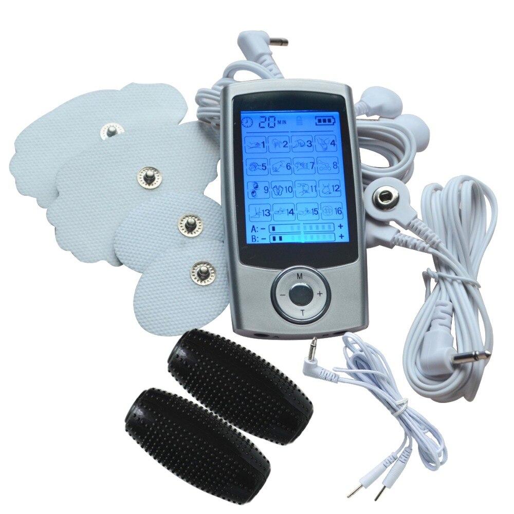 Full Body Massager Dual-Canali TENS/EMS Stimolatore Muscolare Macchina + 1 Pair Elettrodo Mano Sfera di Massaggio Per DECINE Dolore-Alleviare