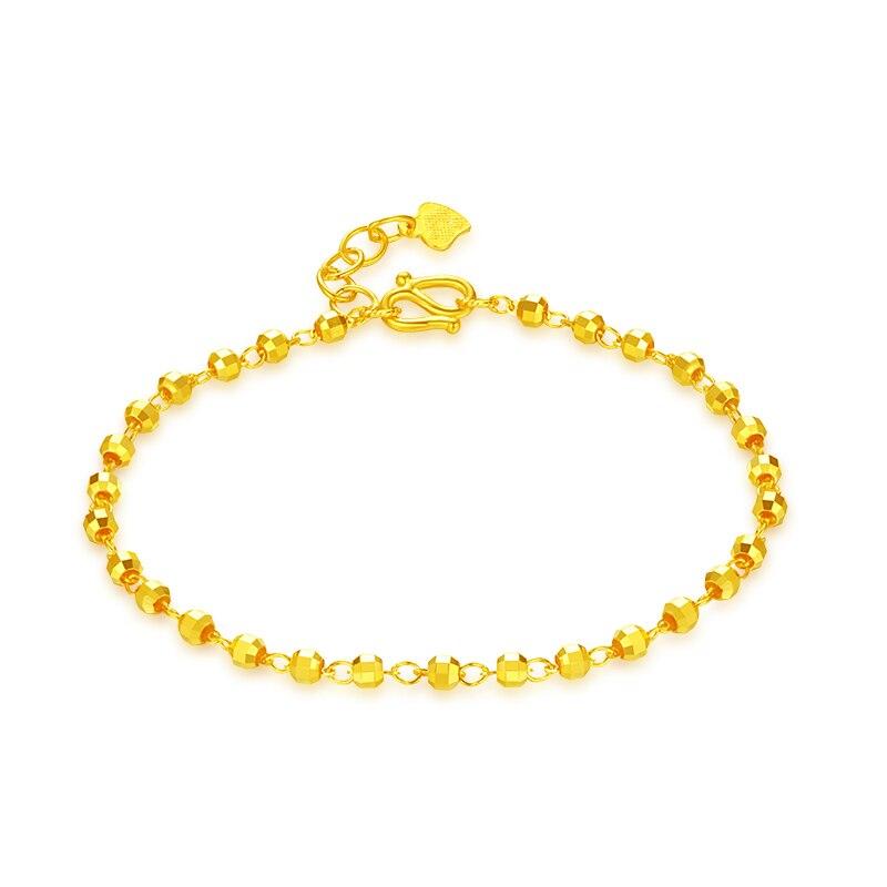 Pur 24 K Bracelet en or jaune femmes perles Bracelet 4.6g