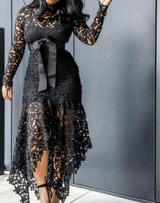 JIEZuoFang Vintage Party Sexy Black Big Size Women Long Dresses Hollow Lace Mesh Beach Bow-knot 4XL African Fashion Maxi Dress