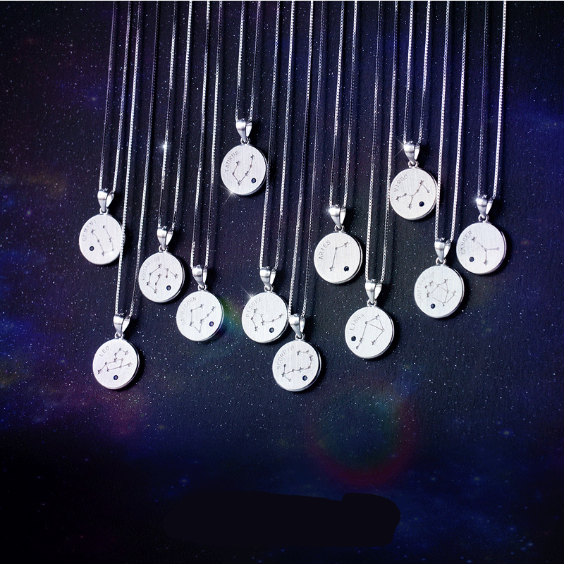 DXJEL 925 Sterling Silver 12 Constellation Pendant Necklace Boho Jewelry Accessories Zodiac Charm Necklace Birthday Gifts Choker