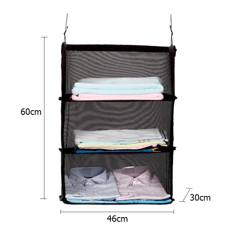 DIHFXX 3 Layers Portable Travel Clothes Storage Rack Holder Storage Mesh Bag Hook Hanging Organizer Suitcase Travel accessories