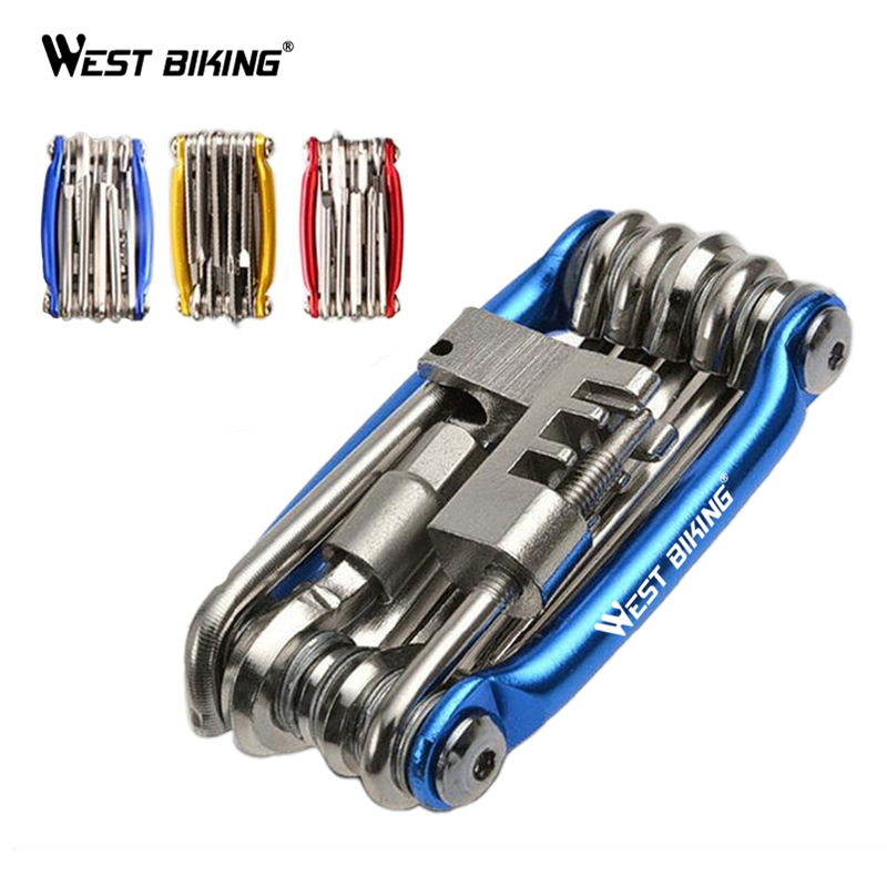 WEST BIKING Bike Repair Tools MTB Bike Kit 11 in 1 Function Folding Tools Set Wrench Spanners Tire Wrench Bicycle Repair Tools