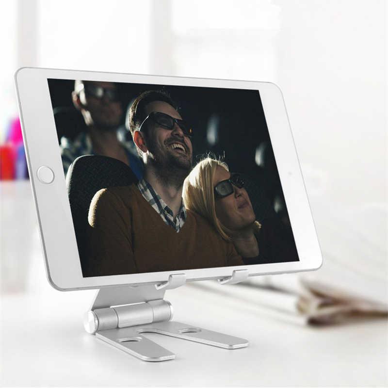Aluminium Paduan Tablet Diputar Dudukan untuk iPad Air Mini 1/2/3/4 Pro 9.7 10.5 12.9 ponsel Lipat Adjustable Berdiri Dukungan